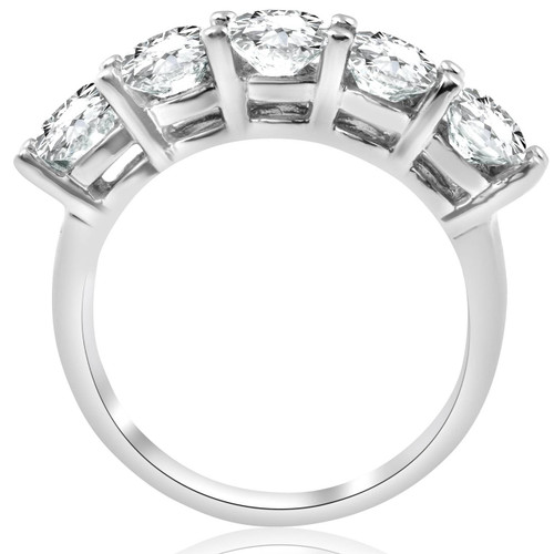 3ct Diamond Five Stone Wedding Ring 14K White Gold (G/H, I1-I2)