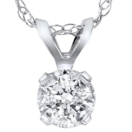 """1 1/2ct Round Brilliant Cut Solitaire Diamond Pendant 14K White Gold & 18"""" Chain ((F), (SI2))"""