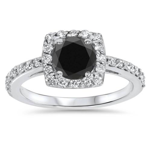 1 3/8ct Diamond & Black Engagement Ring 14K White Gold (G/H, SI2)