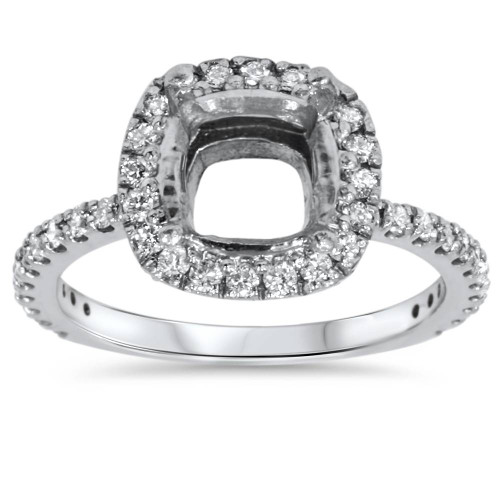 1/2ct Cushion Halo Diamond Ring Setting 14K White Gold (H/I, I1)