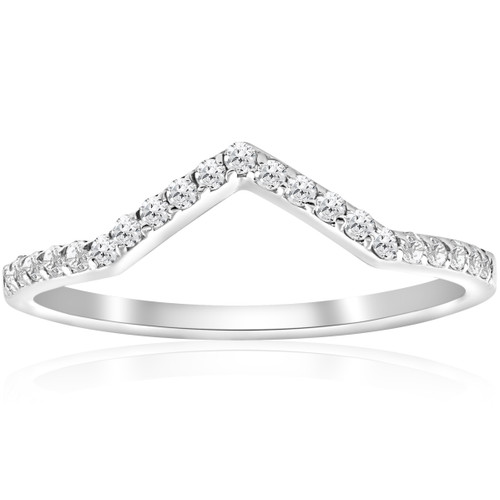 1/4ct Diamond Curved V Shape Ring Stackable Wedding Band 10k White Gold