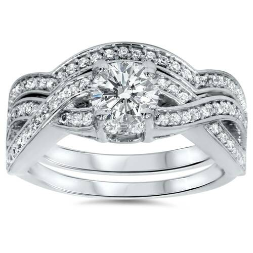 1 1/10ct Diamond Infinity Engagement & Matching Wedding Ring Set 14K White Gold (G/H, I1)