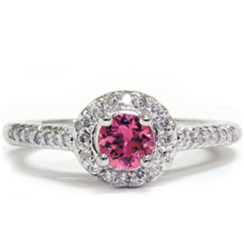 5/8ct Halo Diamond Ring 14K White Gold (G/H, SI)