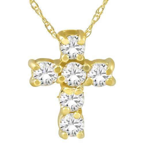 "1/2CT Diamond Petite Cross & Chain 1/2"" Tall (F, VS)"