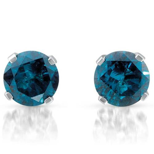 1 ct Treated Blue Round Cut Diamond Studs 14K White Gold (Blue, )