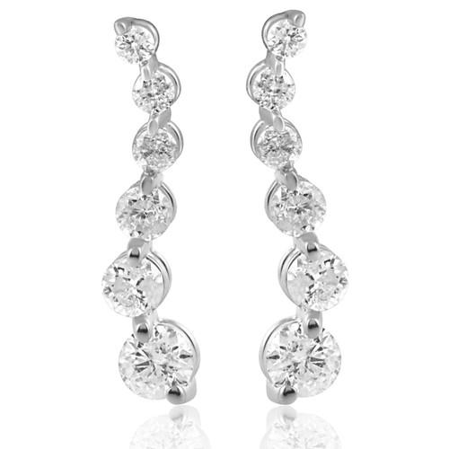 Ladies 1/2ct Diamond Journey Earrings 14K White Gold (I/J, I2)