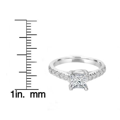 1 1/4ct Vintage Diamond Princess Cut Enagement Ring 14K White Gold ((G-H), SI(1)-SI(2))