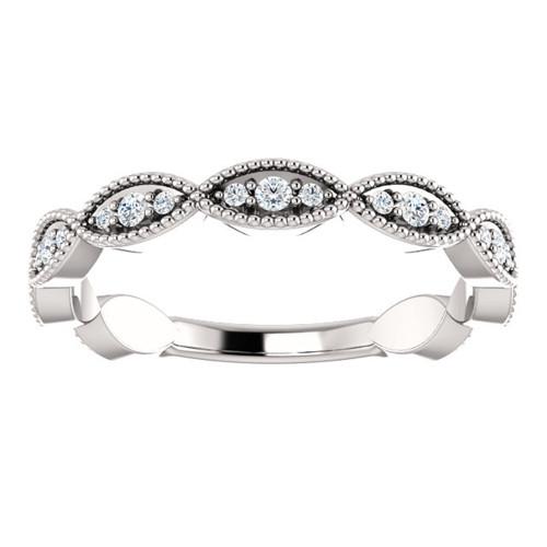 1/5ct Diamond Wedding Ring Womens Stackable Anniversary Ring 14k White Gold