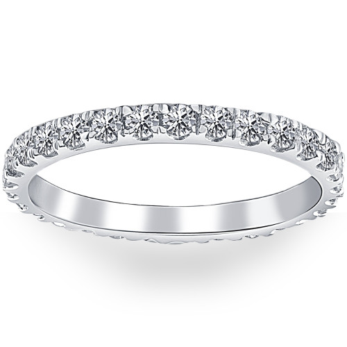 7/8 ctw Diamond Eternity Ring Stackable French Prong Wedding Band 14k Gold White (I/J, I1-I2)