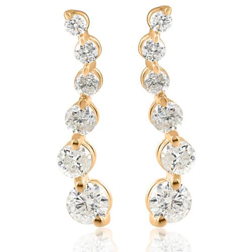 Ladies 1/2ct Diamond Journey Earrings 14K Yellow Gold (I/J, I2)