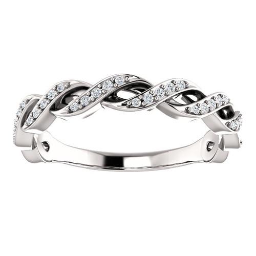 1/8ct Diamond Infinity Wedding Ring Womens Stackable Wedding Band 14k White Gold (H-I, I1-I2)