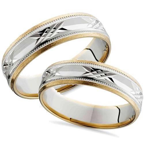 Matching Swiss Cut 14k Gold His Hers Wedding Band Set