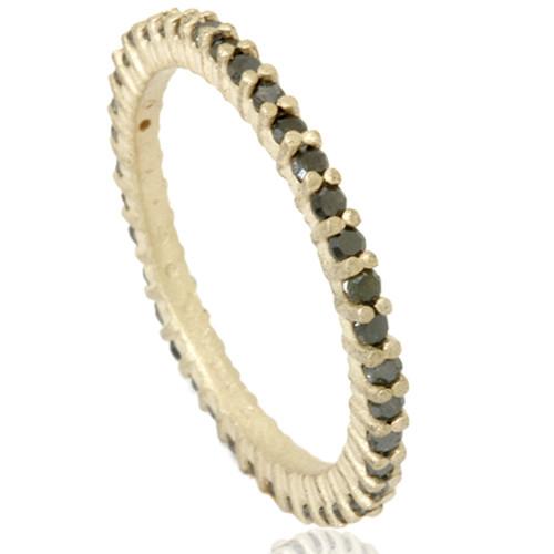 1/2ct Raw Black Diamond Prong Set Eternity Ring 14K Yellow Gold