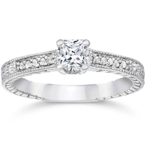 1/2ct Princess Cut Antique Vintage Diamond Engagement Ring 14K White Gold (G/H, I2)