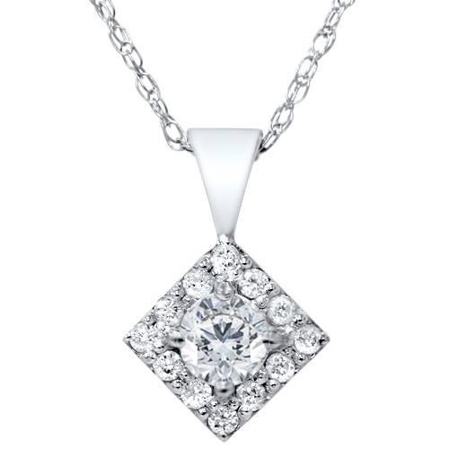 1/4ct Diamond Halo Princess Cut Shape Pendant Necklace 14K White Gold (G/H, I2)