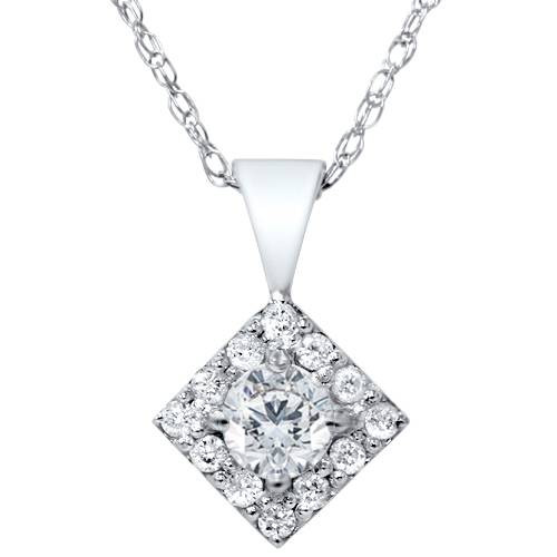 1/4ct Diamond Halo Princess Cut Shape Pendant Necklace 14K White Gold (G/H, I2)