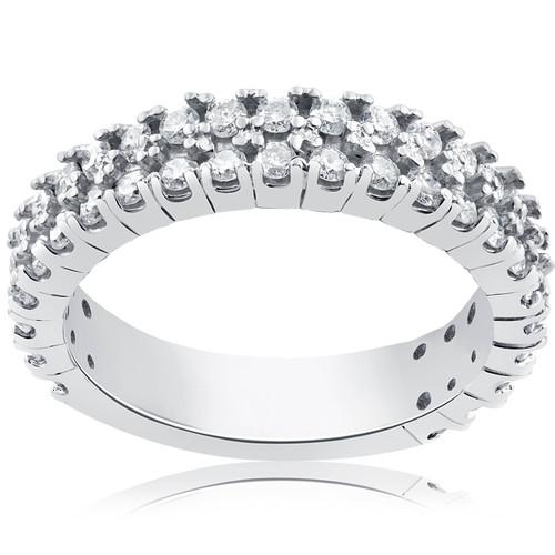 1 1/2 ct Half Eternity Double Row Diamond Wedding Stackable Ring 14K White Gold (H/I, I2-I3)