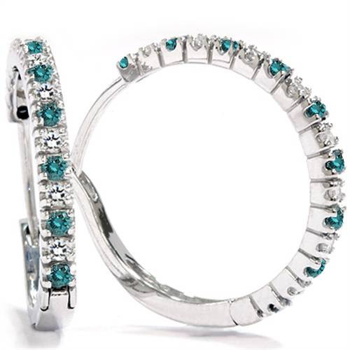 1/2ct Blue & White Diamond Hoops 10K White Gold (G/H, I2)
