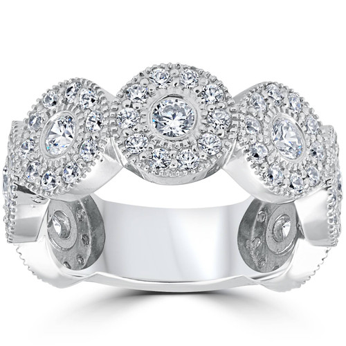 1 1/2ct Diamond Vintage Halo Bezel 3/4 Eternity Wedding Ring 14k White Gold (H/I, I1)