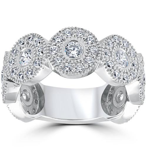 1 1/2ct Diamond Vintage Halo Bezel 3/4 Eternity Wedding Ring 14k White Gold (H/I, I1)
