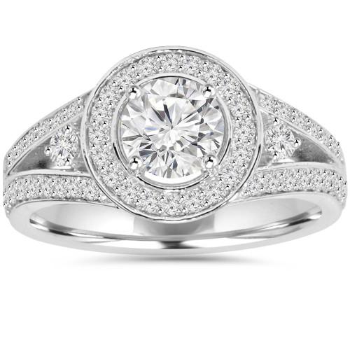 1 1/2CT Lab-Grown Diamond Halo Engagement Ring 14K White Gold (F, SI1)
