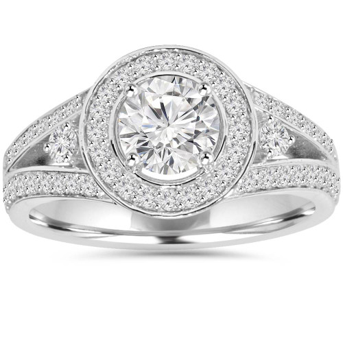 1 1/2CT Lab-Grown Diamond Halo Engagement Ring 14K White Gold (F, SI1)