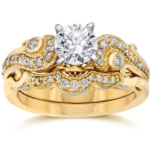 Emery 3/4Ct Vintage Diamond Engagement Wedding Ring Set 14K Yellow Gold (H/I, I1)