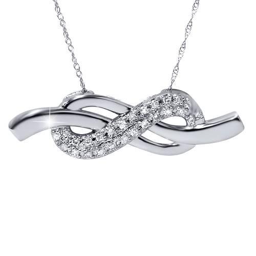 1/3ct Diamond Infinity Knot Pendant 14K White Gold (G/H, I2)