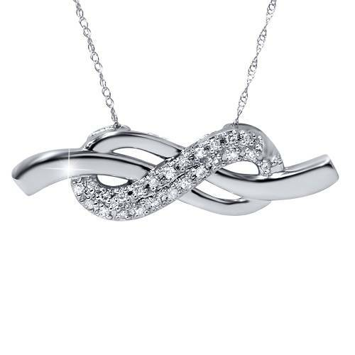 1/3ct Diamond Infinity Knot Pendant 14K White Gold (G/H, I2)