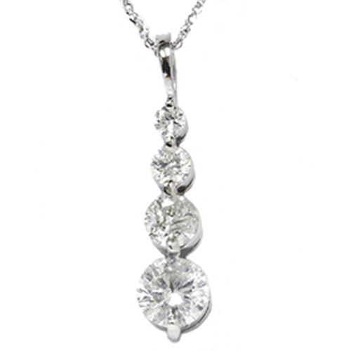 1 1/2ct 14K White Gold Real Diamond Journey Pendant New (G/H, I1)