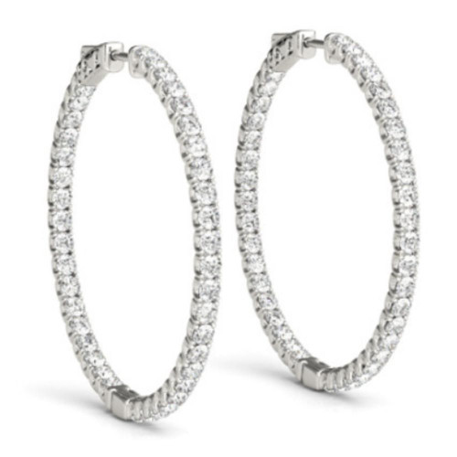 "1 3/4 CT Diamond Inside Outside Hoops High Quality Vault Lock 2"" Tall (F, VS)"