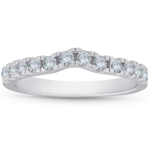 1/3ct Curved Diamond Wedding Guard Ring 14K White Gold (G, I1)