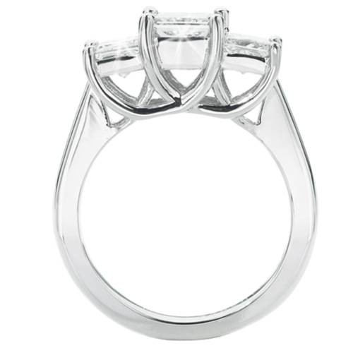 1 1/2ct 3-Stone Princess Cut Diamond Engagement Ring 14K White Gold (H/I, I1)