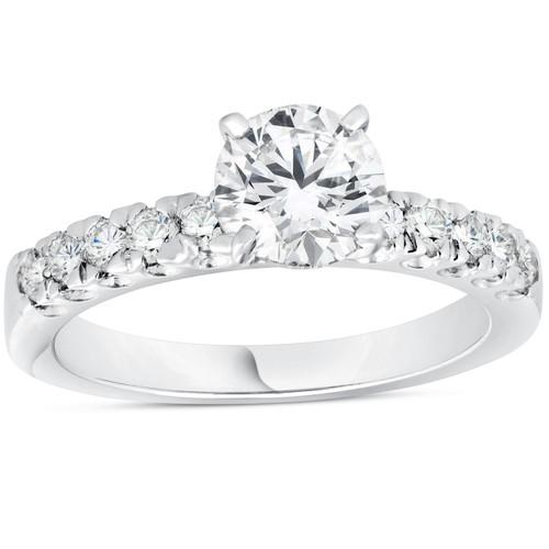 1 3/8ct Pave Enhanced Diamond Engagement Ring 14K White Gold Vintage Antique ((G-H), SI(1)-SI(2))