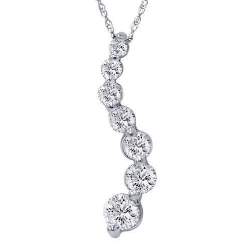2ct HUGE Diamond Journey Pendant 14K White Gold (G/H, I1)
