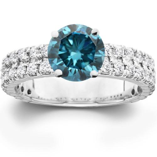 3.40CT Blue & White Diamond Engagement Ring 14K White Gold (H/I, I1-I2)