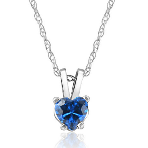 1/2ct Blue Heart Shape Sapphire 14K White Gold