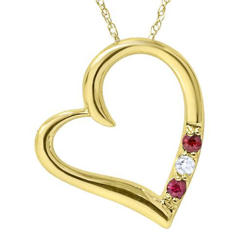"Diamond & Ruby Heart Pendant 3-Stone 14K Yellow Gold with 18"" Chain (G/H, I2)"
