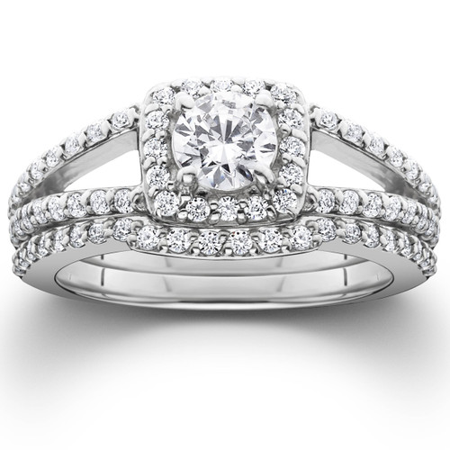 1 1/5ct Pave Halo Split Shank Diamond Engagement Wedding Ring Set 14K White Gold (G/H, I1)