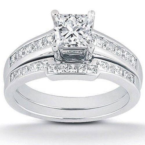 1ct Princess Cut Channel Set Diamond Wedding Engagement Ring 14K White Gold (H, I2)