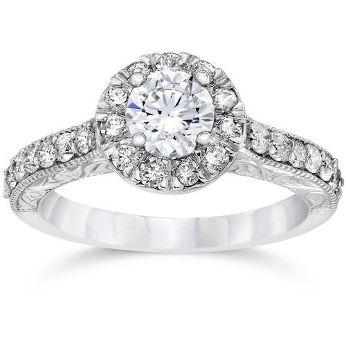 3/4ct Vintage Halo Diamond Engagement Ring 14K White Gold (G/H, I1-I2)