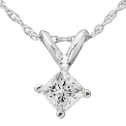 1/3ct Princess Cut Solitaire Diamond Pendant 14K White Gold (G/H, I1)
