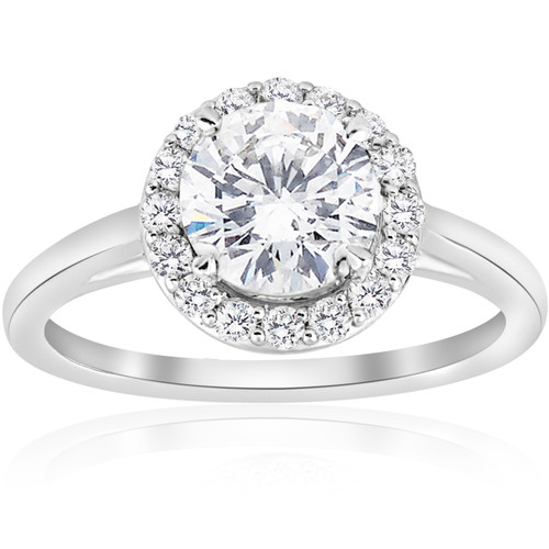 1 3/4 ct Diamond Solitaire Round Halo Engagement Ring 14k White Gold Enhanced (F, SI(1)-SI(2))