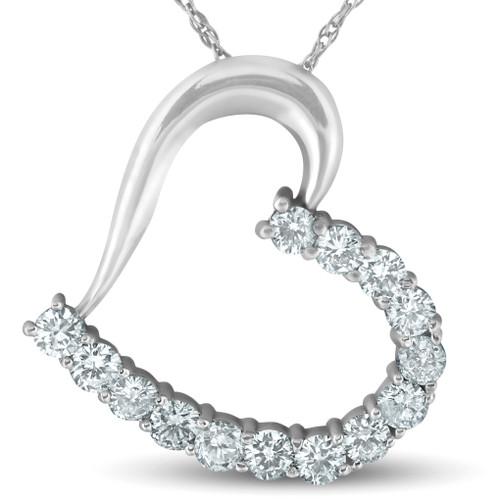 "1 ct Diamond Heart Pendant 14K White Gold 1"" Tall (G/H, I1)"