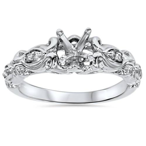 Vintage Diamond Engagement Ring Setting 14K White Gold (G/H, I1)