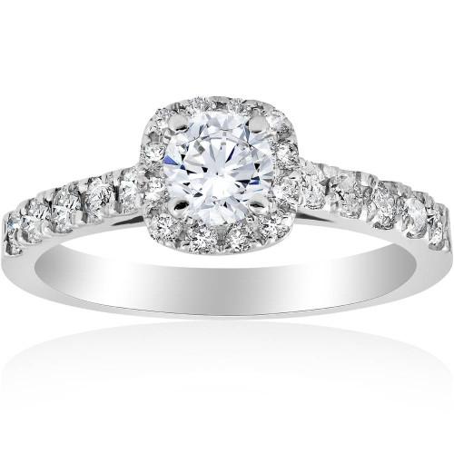 1ct Cushion Halo Diamond Engagement Ring 14K White Gold (H/I, I1-I2)