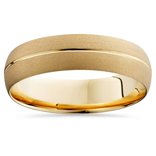 Mens 14k Yellow Gold Comfort Fit 6mm Wedding Band Ring