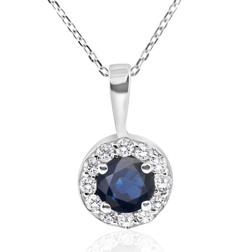"1 ct Blue Sapphire & Diamond Halo Pendant 14k White Gold & 18"" Chain (H-I, I1-I2)"
