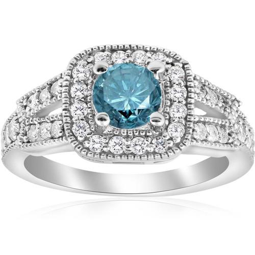 1 1/10ct Blue Diamond Cushion Halo Engagement Ring 14K White Gold (G/H, I1)