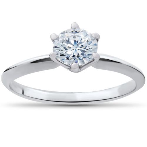 1 1/4ct Solitaire Diamond Engagement Ring 14k White Gold (G/H, I1)